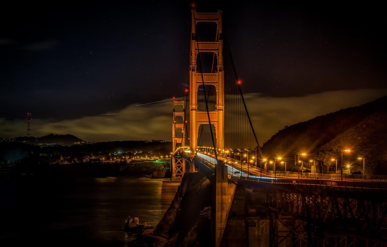 Фото обои ночь, мост, огни, золотые ворота, сан франциско
