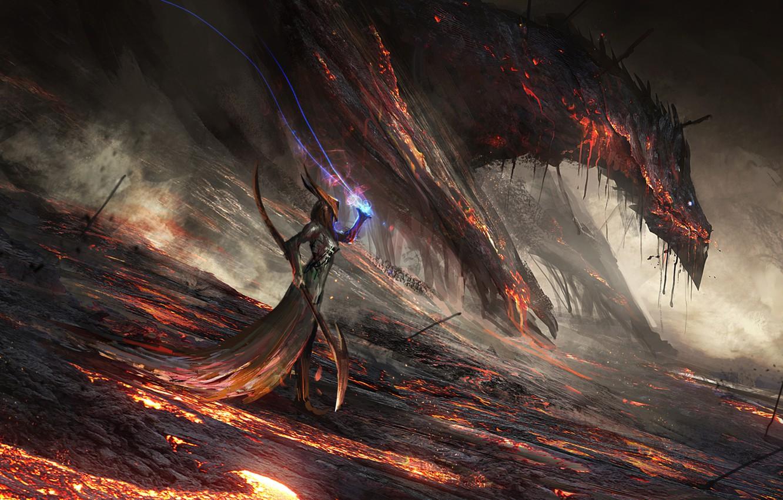 Фото обои девушка, фантазия, огонь, магия, дракон, арт, лава, маг, посох