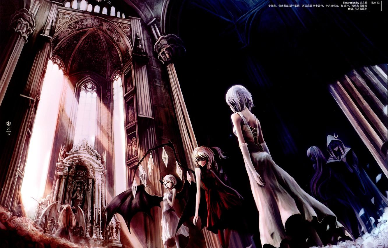 Фото обои крылья, вампиры, алтарь, Touhou, Izayoi Sakuya, Remilia Scarlet, art Crowdesu, черная месса, Flandre Scarlet
