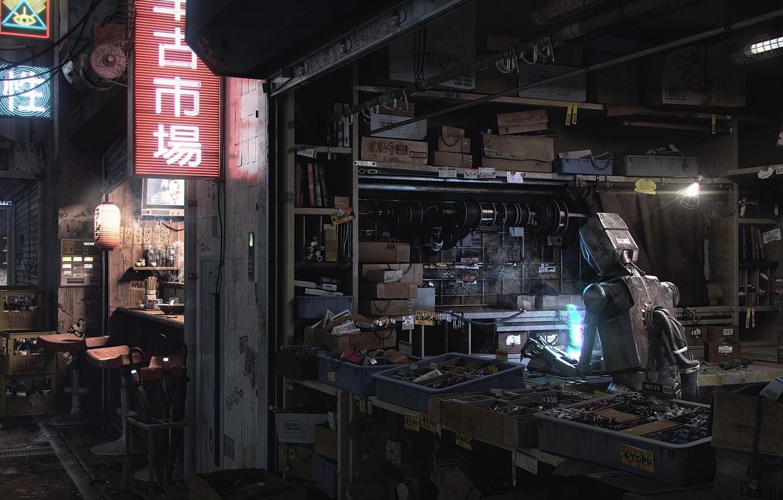 Фото обои робот, мастерская, Devon Fay