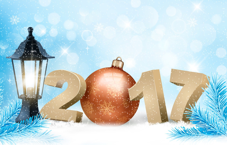 Фото обои зима, снег, снежинки, фон, праздник, игрушка, графика, новый год, вектор, шарик, цифры, фонарь, хвоя, снегопад, ...