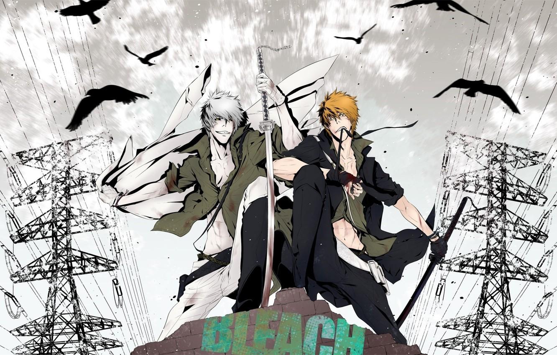 Фото обои парень, мечи, bleach, anime, kurosaki ichigo, art, пустой
