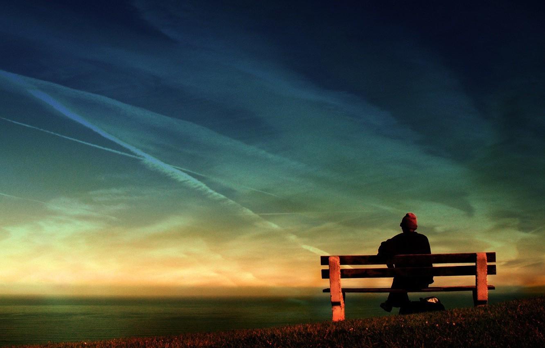 Фото обои задумчивость, воспоминания, скамейка, старость