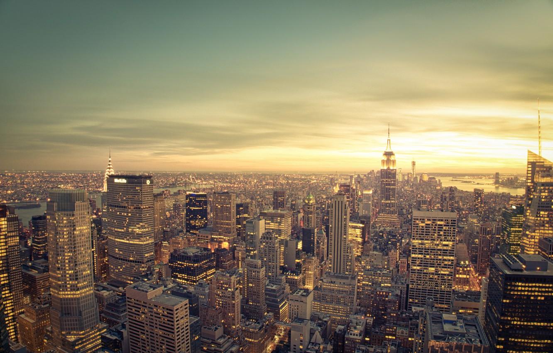 Обои тучи, небоскребы, manhattan, здания, skyline, new york city, освещение. Города foto 16