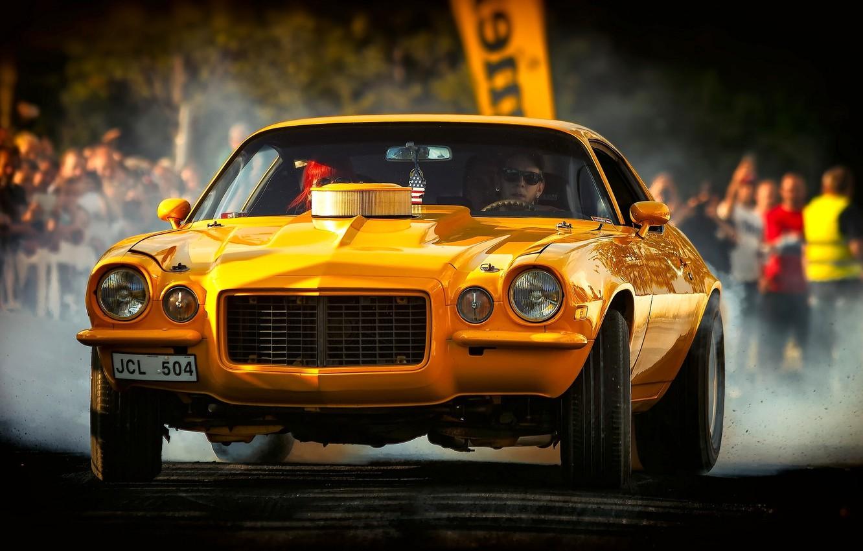 Фото обои жёлтый, Chevrolet, Camaro, Chevrolet Camaro, 1972 Chevrolet Camaro