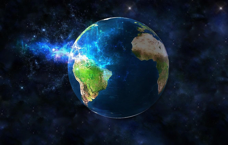 Фото обои космос, графика, планета, Земля, земной шар