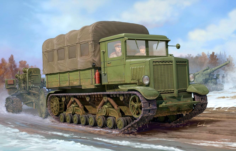 Фото обои арт, художник, СССР, ВОВ, тяжелый, мощность, стрельбы, тягач, советский, калибр, WW2, транспортер, Б-4, гаубицу, артиллерийский, …