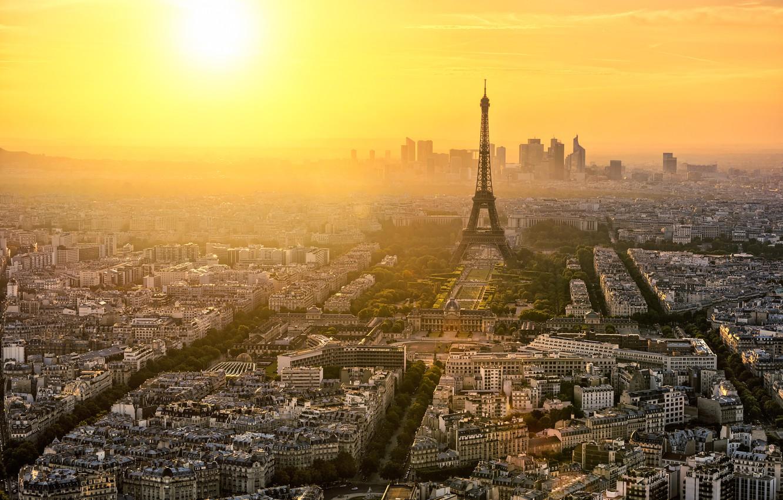 Фото обои деревья, город, рассвет, Франция, Париж, здания, дороги, дома, утро, панорама, Эйфелева башня, Paris, архитектура, улицы, …