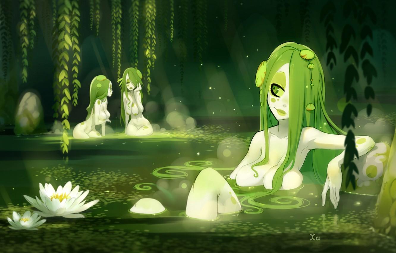 Фото обои цветы, болото, Девушки, общение