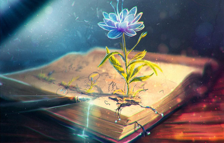 Фото обои цветок, перо, арт, ручка, книга, чернила