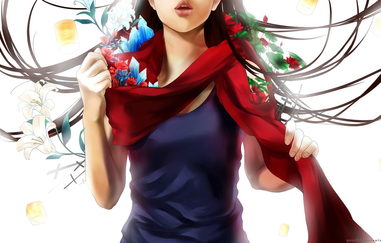 Фото обои листья, девушка, цветы, аниме, шарф, арт, кристаллы, yuuike