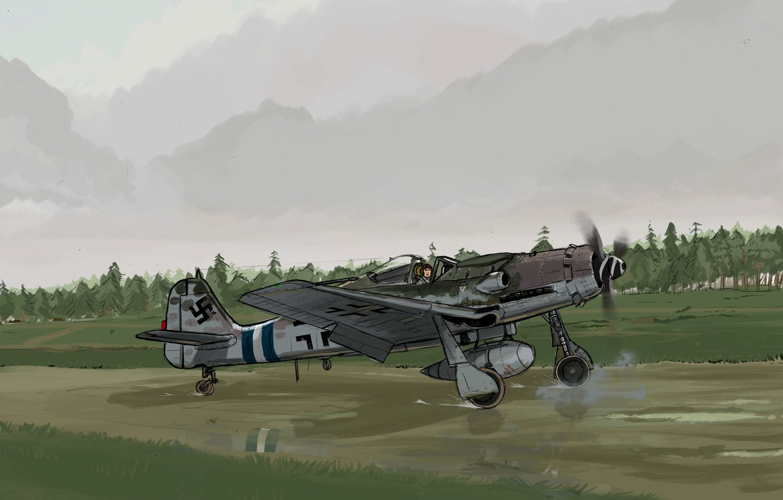 Обои Вторая мировая, истребитель, британский, spitfire, пилоты, рисунок. Авиация foto 16