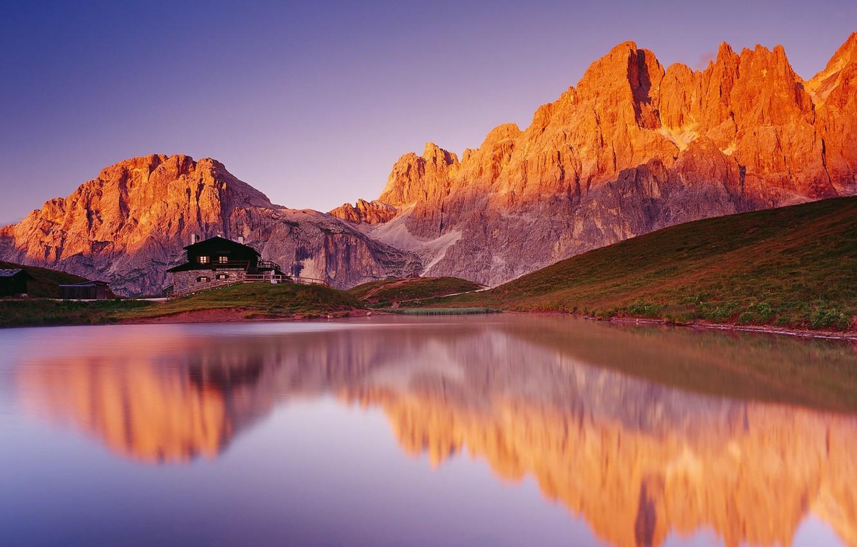 Фото обои горы, озеро, дом