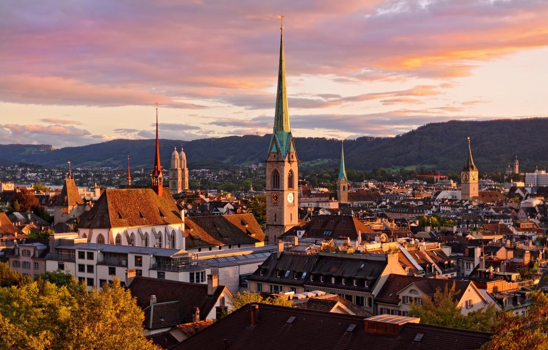 Обои швейцария, Switzerland, здания, крыши, Цюрих, дома. Города foto 17