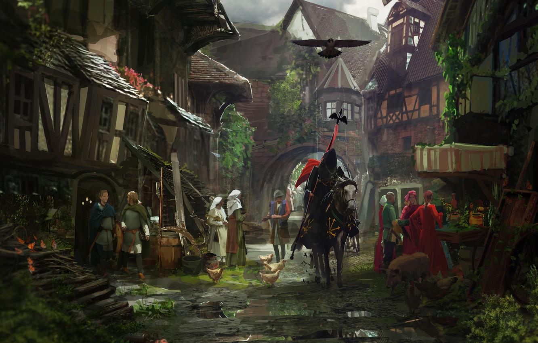 Фото обои город, конь, улица, здания, рыцарь, horse, Middle Ages, knight, Средневековье, крестьяне, горожане, Medieval town