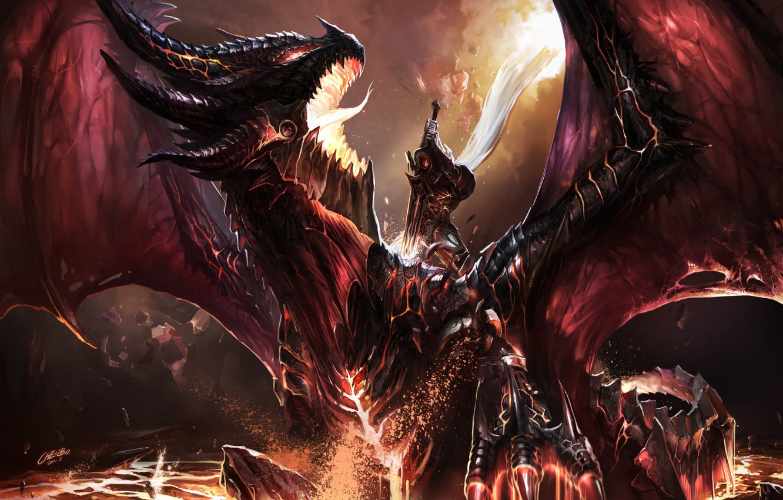 Фото обои огонь, дракон, эльф, меч, воин, WOW, схватка, World of warcraft, art, dragon, battle, фанарт, fanart, …