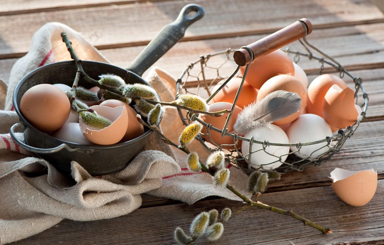 Фото обои Пасха, Яйца, Праздник, Веточка вербы