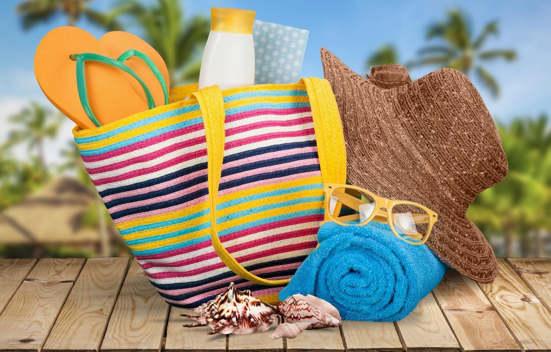 Фото обои пляж, лето, отдых, полотенце, шляпа, очки, summer, сумка, beach, каникулы, sun, sand, сланцы, vacation, starfish, …