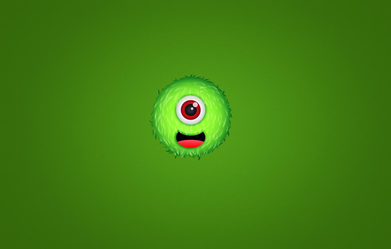 Фото обои зеленый, улыбка, green, монстр, мохнатый, monster, чудик, одноглазый