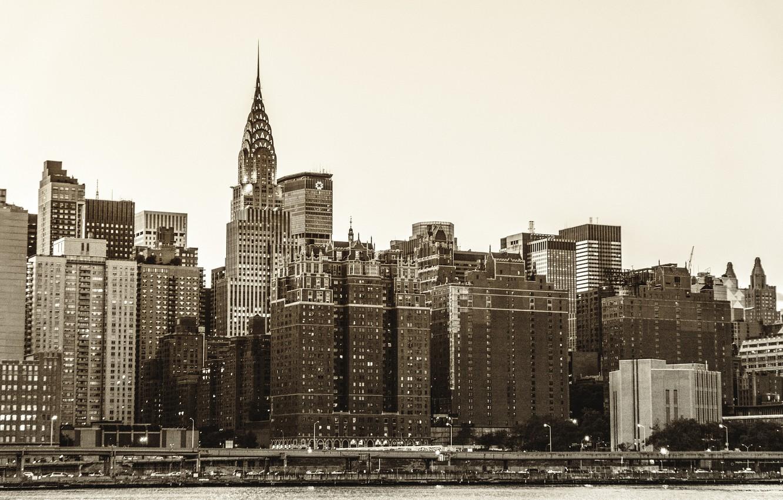 Фото обои город, река, здания, дома, Нью-Йорк, небоскребы, USA, США, Манхэттен, New York, Manhattan, NYC, New York ...