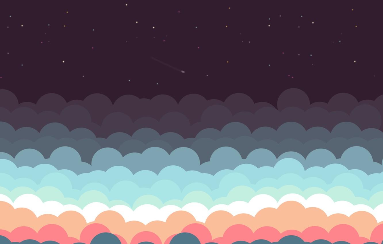 Фото обои Небо, Минимализм, Ночь, Звезды, Красиво, Sky, Beautiful, Stars, Night, Minimalism, Shooting Stars, Падающие Звезды