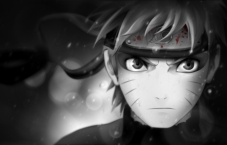 Фото обои взгляд, характер, кровь, чёрно-белая, символ, повязка, Наруто, Naruto