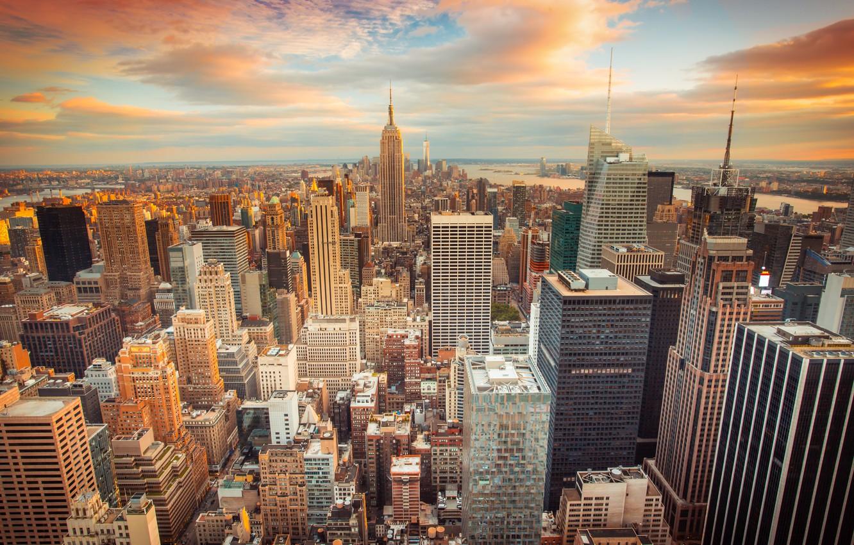 Обои buildings, downtown, skyscrapers, Sunset, сша, new york city. Города foto 6