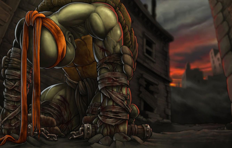 Фото обои кровь, здание, вечер, teenage mutant ninja turtles, TMNT, Микеланджело, Michelangelo, черепашки ниндзя, нунчаки