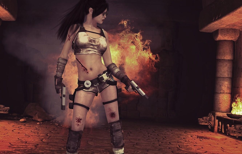 Фото обои девушка, игры, оружие, огонь, крофт, лара