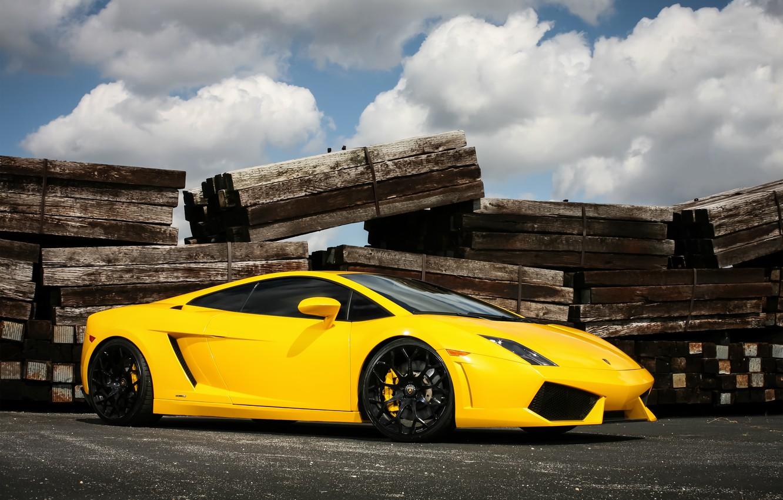 Фото обои Lamborghini, wheels, Gallardo, black, yellow