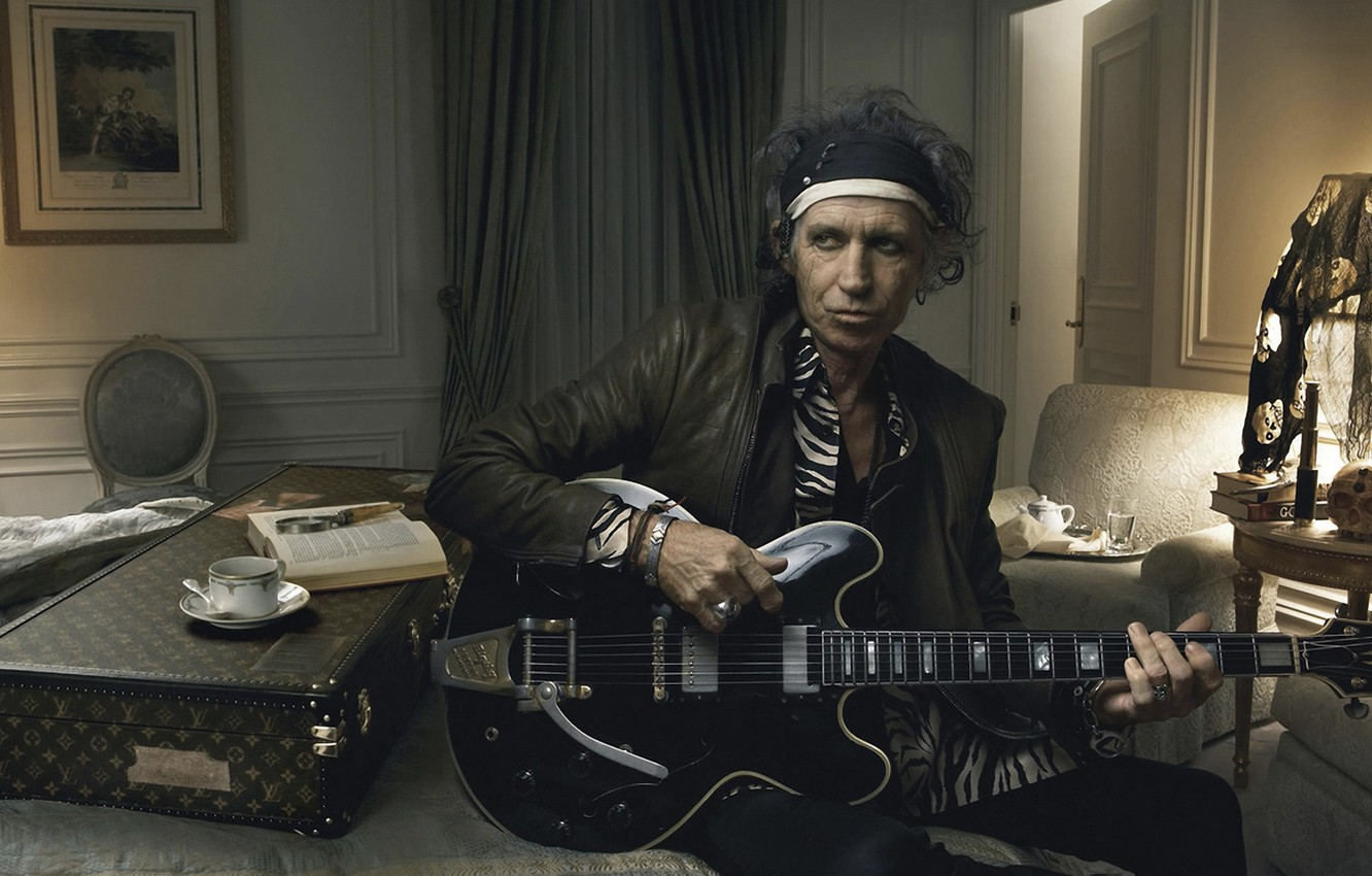 Фото обои гитара, rock, rolling stones, annie leibovitz, keith richards