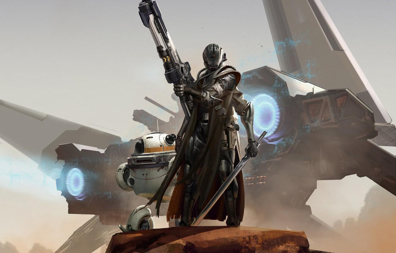 Фото обои оружие, фантастика, корабль, робот, броня, Sci-Fi