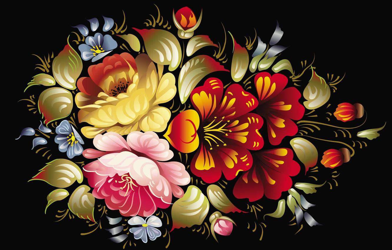 Фото обои цветы, узор, рисунок, лепесток, роспись, хохлома