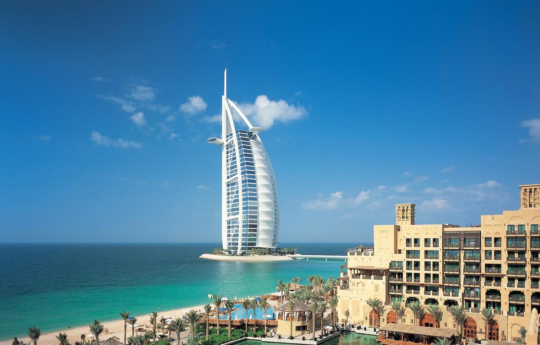 Фото обои море, небо, вода, облака, город, река, здание, Dubai, дубай, Объединённые Арабские Эмираты