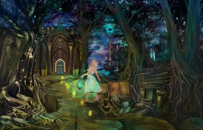 Фото обои дорога, море, лес, небо, облака, деревья, горы, ночь, светлячки, замок, ветви, волшебство, магия, луна, планета, …