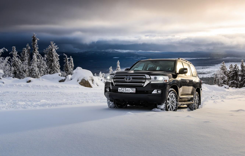 Фото обои снег, черный, внедорожник, Toyota, Black, тойота, ланд крузер, Land Cruiser 200