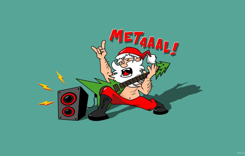Фото обои Дизайн, Музыка, Гитара, Юмор, Новый Год, Волосы, Тень, Санта, Елка, Надпись, Metal, Борода, Дед Мороз, …