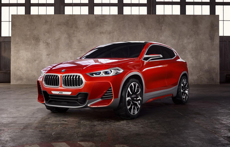 Фото обои Concept, Красный, BMW, Автомобиль, 2016, Металлик, X2