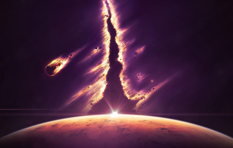 Фото обои космос, свет, планета