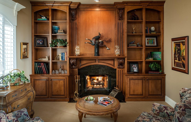 Фото обои мебель, книги, камин, кабинет, столик, декор