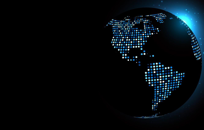 Фото обои earth, black, planet, blue points