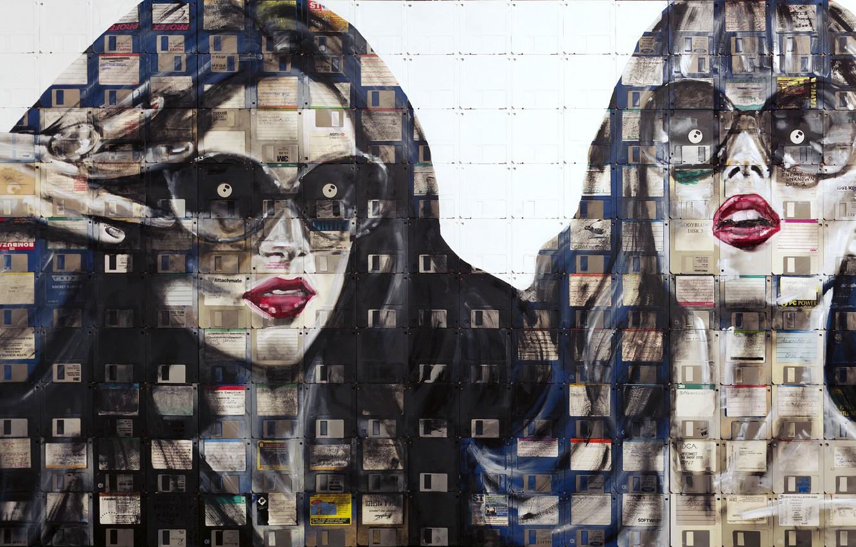 Фото обои глаза, взгляд, стиль, эмоции, девушки, краска, портрет, арт, очки, дискеты, флоппи-арт, Nick Gentry, Ник Гентри, …