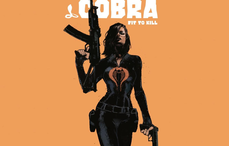 Фото обои взгляд, девушка, оружие, фон, костюм, Cobra, фильм. арт