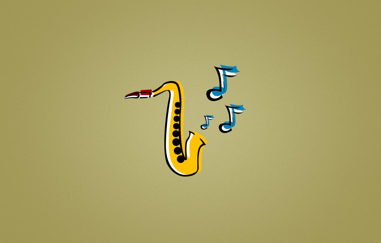 Фото обои синий, желтый, ноты, музыка, джаз, Саксофон, jazz, saxophone, Sax