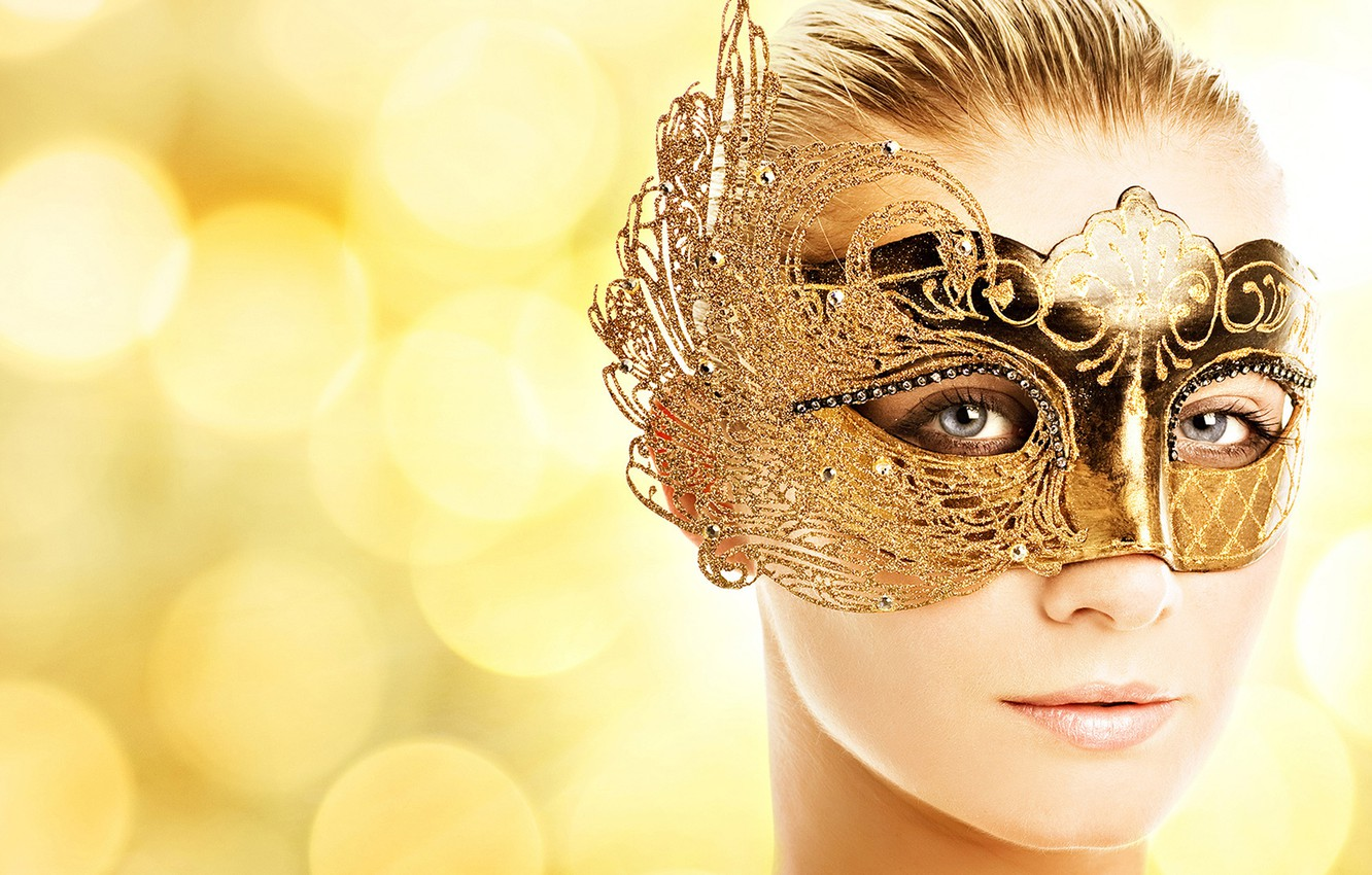 Фото обои blue eyes, face, hair, blonde, mask, adorned