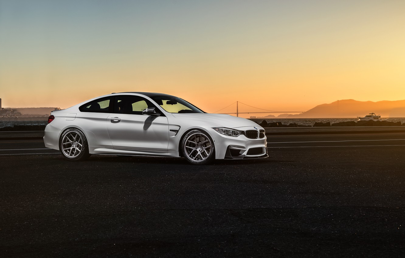 Фото обои BMW, Car, Front, Sunset, White, Sport, Collection, Aristo, F82