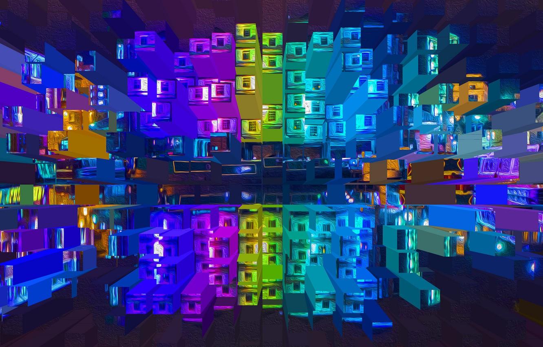 Фото обои дом, отражение, рендеринг, краски, окна