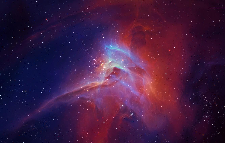 Фото обои туманность, свечение, звёзды