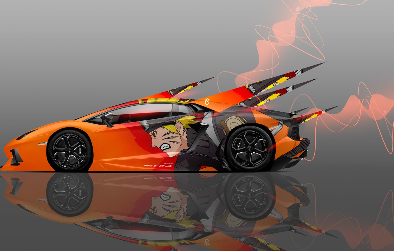 Фото обои Авто, Lamborghini, Машина, Оранжевая, Стиль, Обои, Orange, Аниме, Оранжевые, Car, Арт, Наруто, Naruto, Art, Anime, …