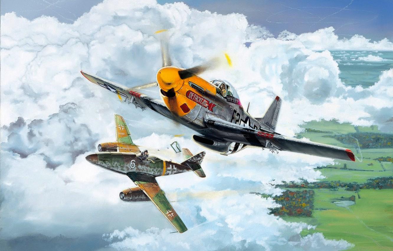 Обои war, painting, aviation, ww2, aircraft, air combat, P 47 thunderbolt, drawing, dogfight. Авиация foto 19